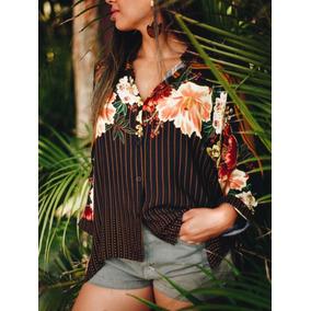 Farm. Camisa Buraco Frescor De Abacaxi, Tamanho P E M