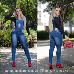Macacão Calça Jeans Jardineira Feminino Moda Blogueira