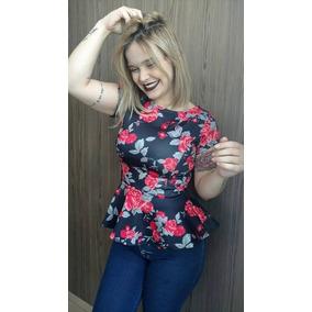Blusa Peplum Estampa De Flor - Camisetas e Blusas no Mercado Livre ... 5f5320e8fddce