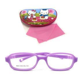 f7e194b43077f Armação Óculos Grau Flexível Silicone Infantil 6031 Menina