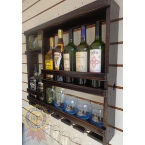 Adega Vinhos Com Porta Taças Bar Barzinho Parede 69x59-7g