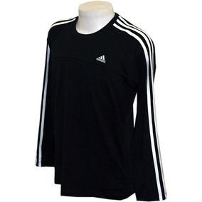 Camisa adidas 3s Aess Manga Longa Preta Original. R  99 bda85cae01834