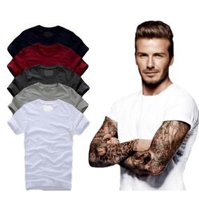 Kit Com 05 Camisa Slim Fit Camiseta Lisa - Masculina Ref 107