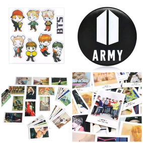 25 Polaroids Bts Kpop + Adesivo + Botton Army + 30 Photocard