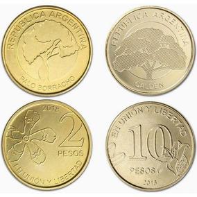Argentina Nuevas Monedas 2 Y 10 $ 2018 - Arboles - Fdc + Reg