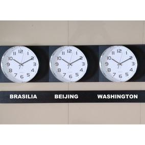 fa5b5d42c54 Kit 3 Relógio D Parede Fuso Horário Cromado 29cm D 120 Cm