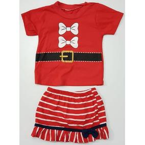 Conj. Blusa Saia Natal Papai Noel Mamãe Noel Menina 1 2 3