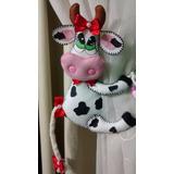 Prendedor De Cortina Em Feltro - Vaca