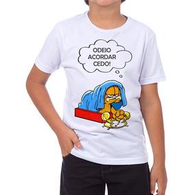 Camiseta Camisa Odeio Acordar Cedo Garflied Infantil 5738e6de539
