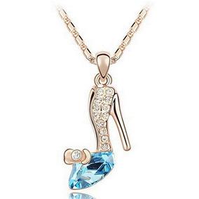 Zapatilla De Cristal Cenicienta Collar Cadena Dorada a670f10d5dd6