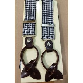 Tirantes Negro-beige-blanco Con Cuero 100% Natural Italiano
