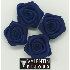 Flor De Tecido Modelo Rococó 25mm Azul Royal Pacote 50 Peças