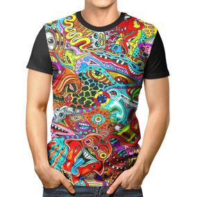 Camiseta Básica 3d Full Unissex Roupa Monstros Psicodélicos