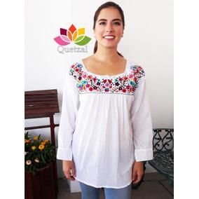 Blusa Blusón Mexicano Bordado Típico Multicolor Tela Blanca