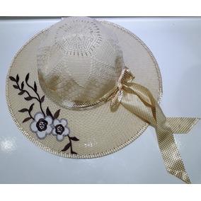 Chapéu De Palha Feminino Moda Praia Com Aplique Lindo!