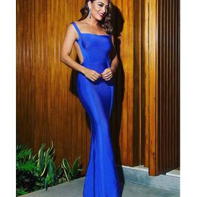 Vestido longo bandagem azul marinho
