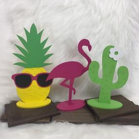a32fd6783f936 Flamingo Abacaxi E Cacto Mdf Decoração Festa Quarto Aloha