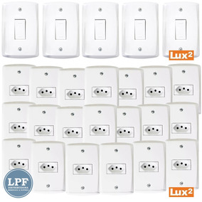 Kit 5 Interruptores Simples + 20 Tomadas 10a +25 Placas Lux2