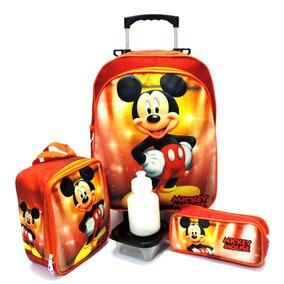 Kit Mochila Escolar Mickey Mouse Rodinhas G + Lancheira F5