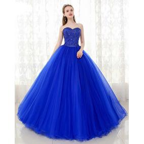 Vestido de quinceanera azul rey