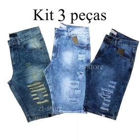 Kit 3 Bermudas Jeans Rasgadas Destroyed Masculina 2019 Verão