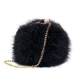f3b4295efc21 Flada Women s Faux Fluffy Feather Round Clutch Shoulder Bag