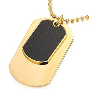 Acero De Dos Piezas De Oro De Color Mens Tag Collar Collar C 455b4d93dfc