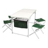 Mesa Plegable Waterdog + 4 Bancos 120x60x70 + Bolso Camping