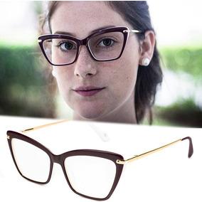 a10ce6ed1bbcf Armação Oculos P  Grau Feminino Mf50 Acetato Metal Importado