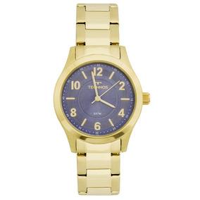 Relógio Technos Pequeno Aço Dourado Visor Azul 2035mft 4a