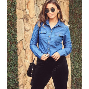 Camisa Blusa Jeans Feminina Linda Primavera 2018 Lançamento 5d6345cc7edfe