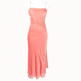 Rue De La Paix Vestido De Gasa Salmón 3-4 Msrp $1,200