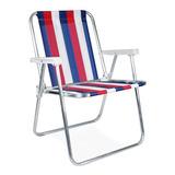Cadeira Alta Praia Piscina Alumínio 100kg Mor Colorida Nylon