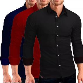Camisas Camiseta Social Masculina Slim Tricoline Lycra