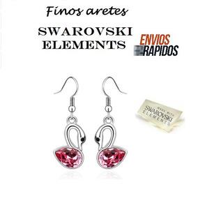 Aretes Cristal Swarovski Elements Tag Autenticidad Cisne