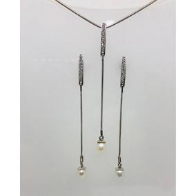 Glitter Joias - Conjunto Colar Brincos Ouro Diamante Pérolas