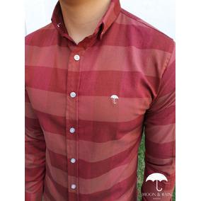 Camisa Slim Fit Líneas Rojas Por Moon & Rain
