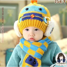Touca Com Cachecol Infantil Bebê Trico Lã Robô Coloridas 64d0f40c70f