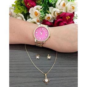 Relógio Champion Dourado Aço Rosa Pink Stras Cn29829j Brinde