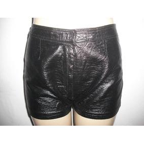 Shorts Couro Sintético Preto Cintura Alta Tam P Bom Estado