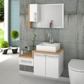 Gabinete Armário P/banheiro C/cuba Q39+espelheira Legno 830*