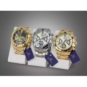 Kit Com 3 Relógios Masculino Orizom Originais Dourado Prata