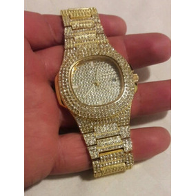 Relogio Iced Out Chain Cor Ouro Pedras Brilhantes Hip Hip