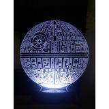 Abajur Luminária De Acrílico De Led Star Wars Estrela Morte