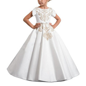 Carat Elegante Vestido De Primera Comunión De Satén Blan