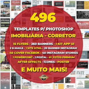 496 Templates Imobiliária Photoshop Flyer Facebook Instagram