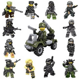 82bc3f66cc 12 + 1 ejército Juego De Minifiguras Con Militar Armas Ac