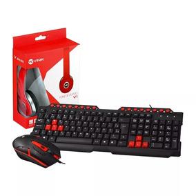 Kit Teclado Mouse Fone Gamer Gk-20 Vermelho E Preto Com Fio