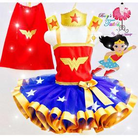 Tutú Ribbon Mujer Maravilla Wonder Woman Traje Fiesta Cumple