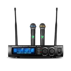 Microfone Sem Fio Uhf Duplo De Mão Uf-112 Probass